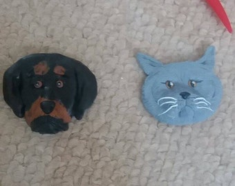 Personalized pet polymer clay fridge magnets, cats, dogs