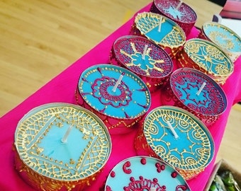 Candles Favors, Hand painted henna inspired candles