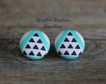 19mm Aqua, White & Blue Triangles Fabric Button Stud Earrings