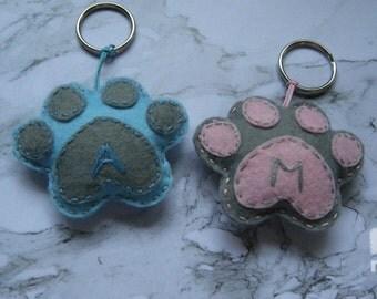 Personalized paw print keychain,felt paw print keyrings, personalized keychain, personalized keyrings
