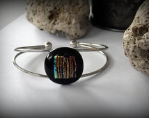 Dichroic Glass gem bracelet//adjustable