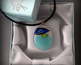 Dichroic Glass pendant/millefiori/bullseye glass rods/glass jewel/turquoise/yellow/cobalt blue dichroic