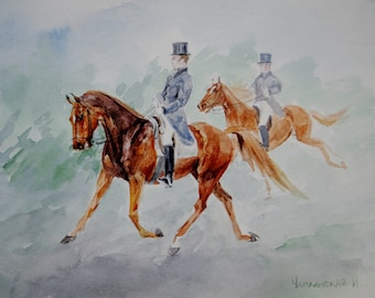 A horse ride, watercolor painting
