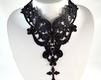 Gothic Cross Necklace - Free US Shipping-  Gothic Necklace - Black and Red