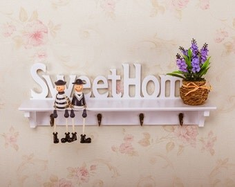 White Sweethome plaque wall hanging key holder/wooden shelf home decoration