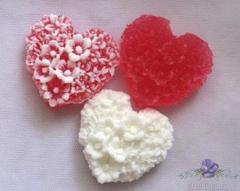 Heart Soap - 3 soap, homemade soap, handmade soap, wedding soap, luxury gift soap,  souvenir, soap souvenir, soap favor, soap gift,