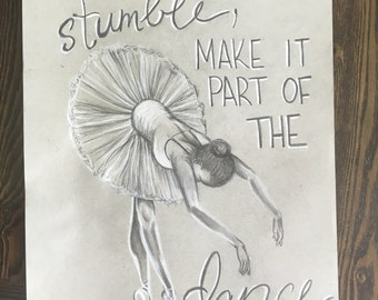 Ballerina. Original artwork, black and white charcoal on grey paper. 11 x 14""