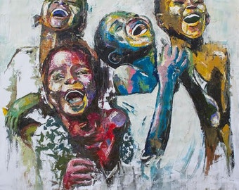 Extra-large artwork oil painting print on canvas by Shai Yossef wall art decor,decorative,portrait,Art & Collectibles,kids,africa,happy.