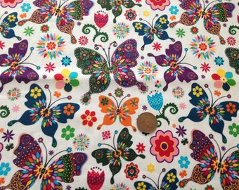 100% cotton butterfly fabric per half meter