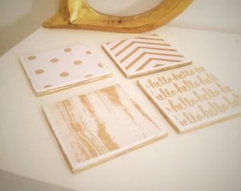 Girls love Gold ( Tile coasters set of 4)