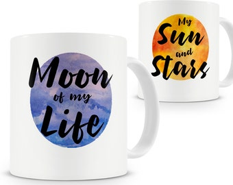 Moon of My Life My Sun and Stars 2 Mug Set Game of Thrones Inspired Khal and Khaleesi Gift Drogo & Daenerys Targaryen Mug