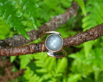 Grey Moonstone and Copper Ring