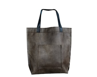 Mr.M Vintage Bag - Dark Brown Leather Tote Bag - Large Dark Brown Tote - Leather Travel Bag - Leather Market Bag - Large Shopper Bag