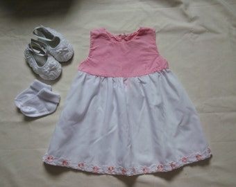 6-9 months Pink and white summer dress