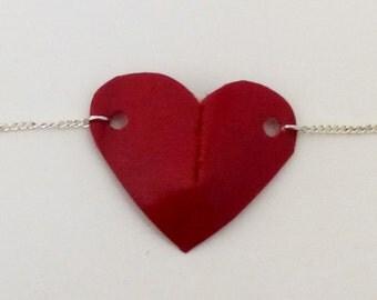 Bracelet heart leather raspberry