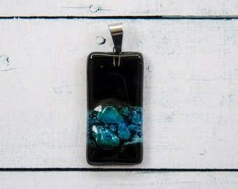 Fused glass pendant necklace glass charm cabochon black turquoise C4