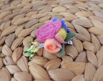 Floral Bouquet Hair Clip - Mulberry