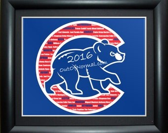 2016 WORLD SERIES CHAMPIONS Chicago Cubs Team  Print Photo Gift, Anniversary, Man Cave, Wife, Sports, Roster, Word Art Typography, art