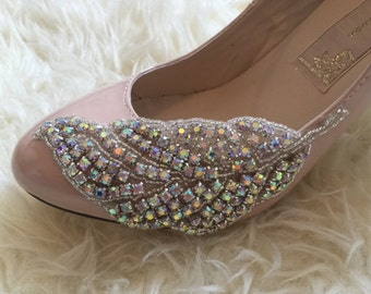 Rhinestone Feather Blush Mary Jane Heels