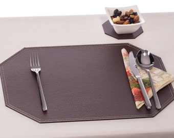 Brown Placemats, Recycled leather place mats, Table mats, Dining Table Decor, Octagon Dining Set, Placemats and coasters / Table placemat