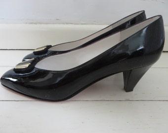 Kurt Geiger Black Patent Leather High Heeled Shoes Size 5