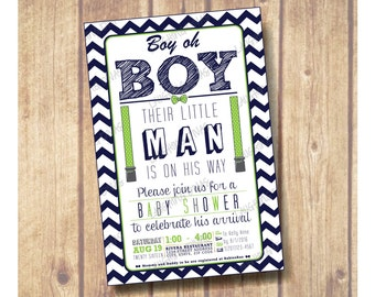 Boy oh Boy Baby Shower Invitation; Boy oh Boy Zig Zag Print Baby Shower Invitation