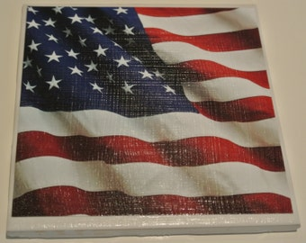 Set of 4 american flag coasters