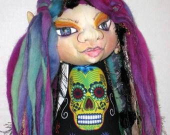 Day of the Dead Hanging OOAK Cloth Art Doll, Goddess Spirit Wall Art Doll
