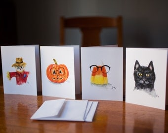 Hipster Halloween- watercolor card set