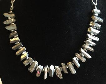 Quartz Crystal Necklace-Silver