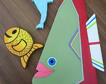 Wooden fish paintings, decorative for your walls