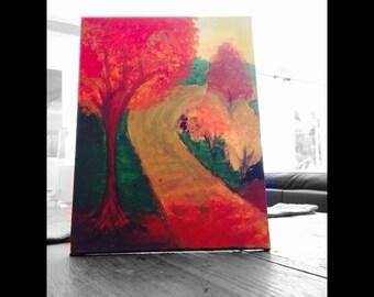 Autumn road painting