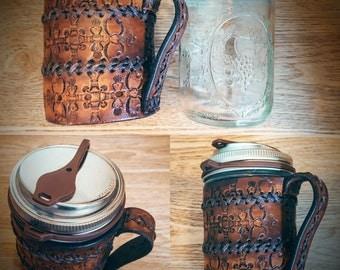 Leather Belt Mason Jar Koozie