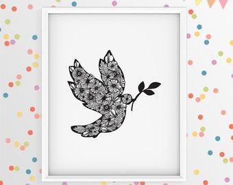 Dove art, nursery art print, black and white illustration, bird art, bird illustration, dove peace, kids wall decor, nursery poster