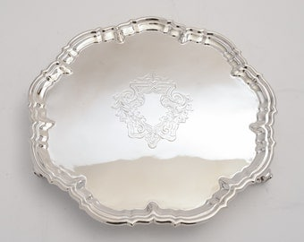 Victorian pie crust silver plated salver (ID 47172)