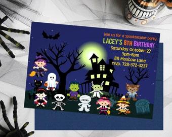 Kids Birthday Halloween Invitations, Party Invitations, Kids Halloween Party, Kids Birthday Party, Printable Invitations, Halloween Party