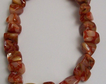 Red Mother-of-Pearl Shell and Resin Bracelet