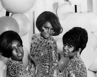 Diana Ross and the Supremes Motown Group Glossy Black & White Photo Music Print Picture