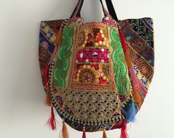 Fabulous Gujarati bag hand stitched using vintage sari, silk, mirrors, embroidery and tassels