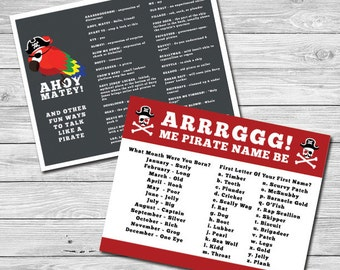 Ahoy, Matey Talk Like a Pirate/Pirate Name Generator Card