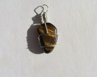 Gold Tiger's Eye Crystal Wire Wrapped Pendant