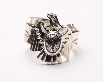 Sterling Silver Eagle Ring | Mens Eagle Rings | Native American Inspired | Tribal Ring | Navajo Pattern Ring | Adjustable Ring | Silver Ring
