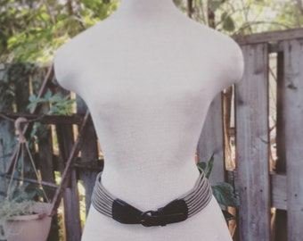 1980's Mulberry Company leather belt - black and grey