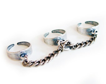 Triplet rings with chains. Boho chic ring, Trendy Jewelry, Boho jewelry, Trendy ring. In 2 Colors