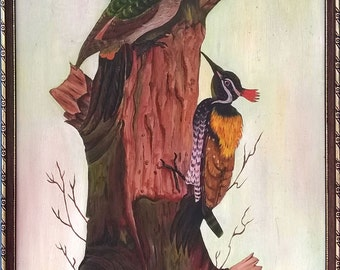 Couple of Woodpeckers Oil Painting