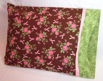 Travel Pillowcase - Pink Cancer Ribbons & Roses. Great Gift for Any Age. Compact for Travel or Nap Time.