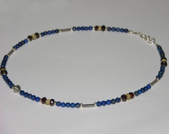Lapis lazuli, garnet and citrine necklace