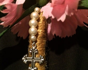 Pink carnation flower Pen with cross and pearl dangle