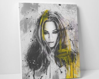 Beyonce Lemonade -Canvas Fine Art Giclée Print - Varnished Acrylic Yellow Painting Abstract Illustration Celebrity Singer Queen Bee Music