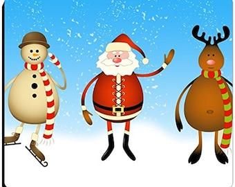 Christmas Santa, Snowman and Reindeer Mousepad
